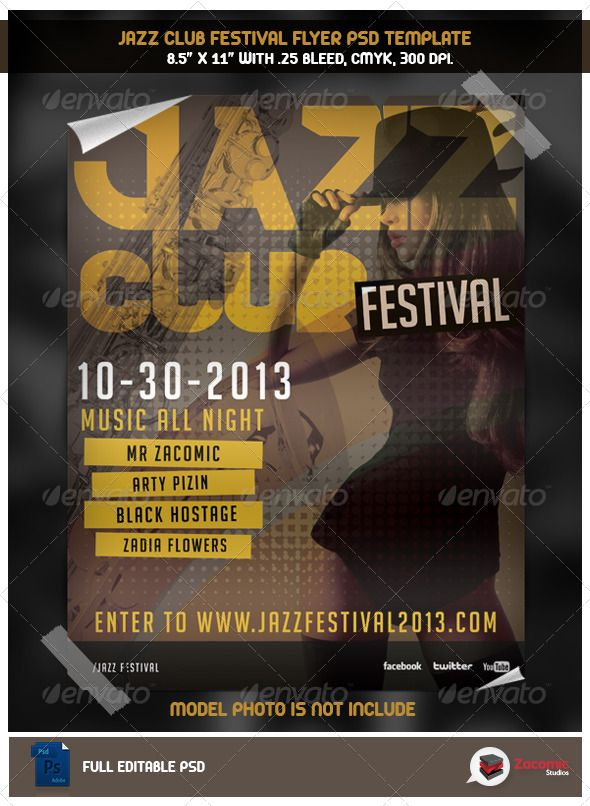 jazz club flyer template by zacomic flyer jazz club info adobe