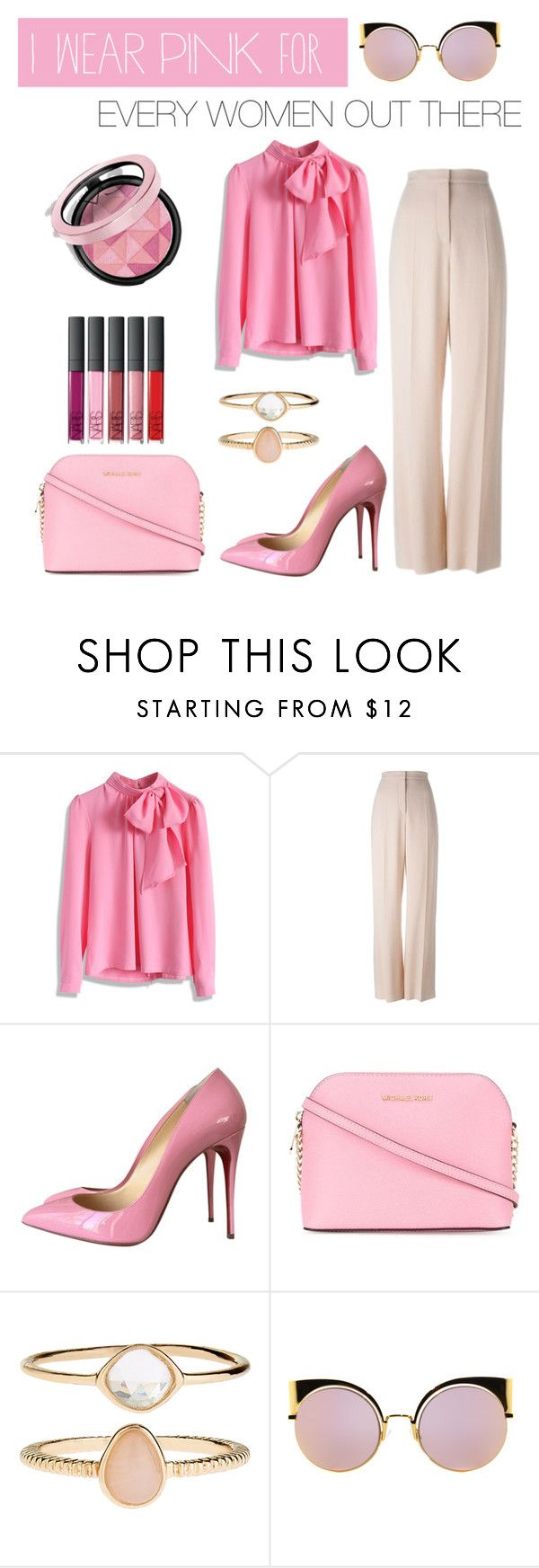 """#IWEARPINKFOR... - Contest Entry"" by pytricia on Polyvore featuring Chicwish, STELLA McCARTNEY, Christian Louboutin, MICHAEL Michael Kors, Accessorize and Fendi"
