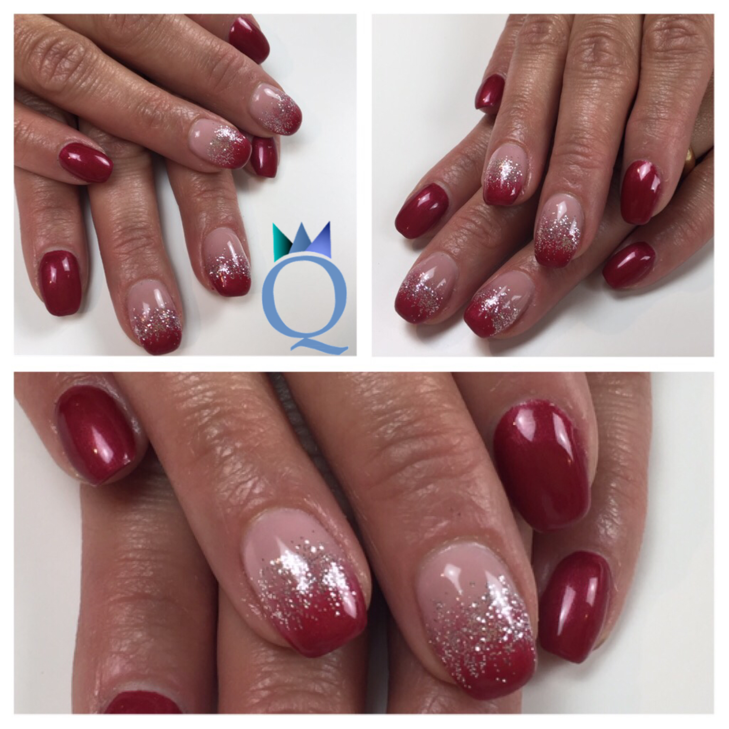 shortnails #acrylicnails #nails #red #silver #glitter #ombre ...