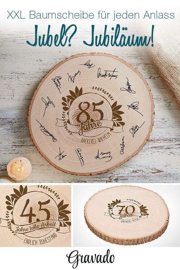 Photo of Riesige Baumscheibe mit Hilfe von Gravur – Jahrestag – personalisiert