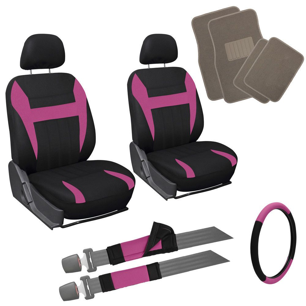 Awesome Amazing 13pc Pink Black Front Bucket Van Seat Covers Set