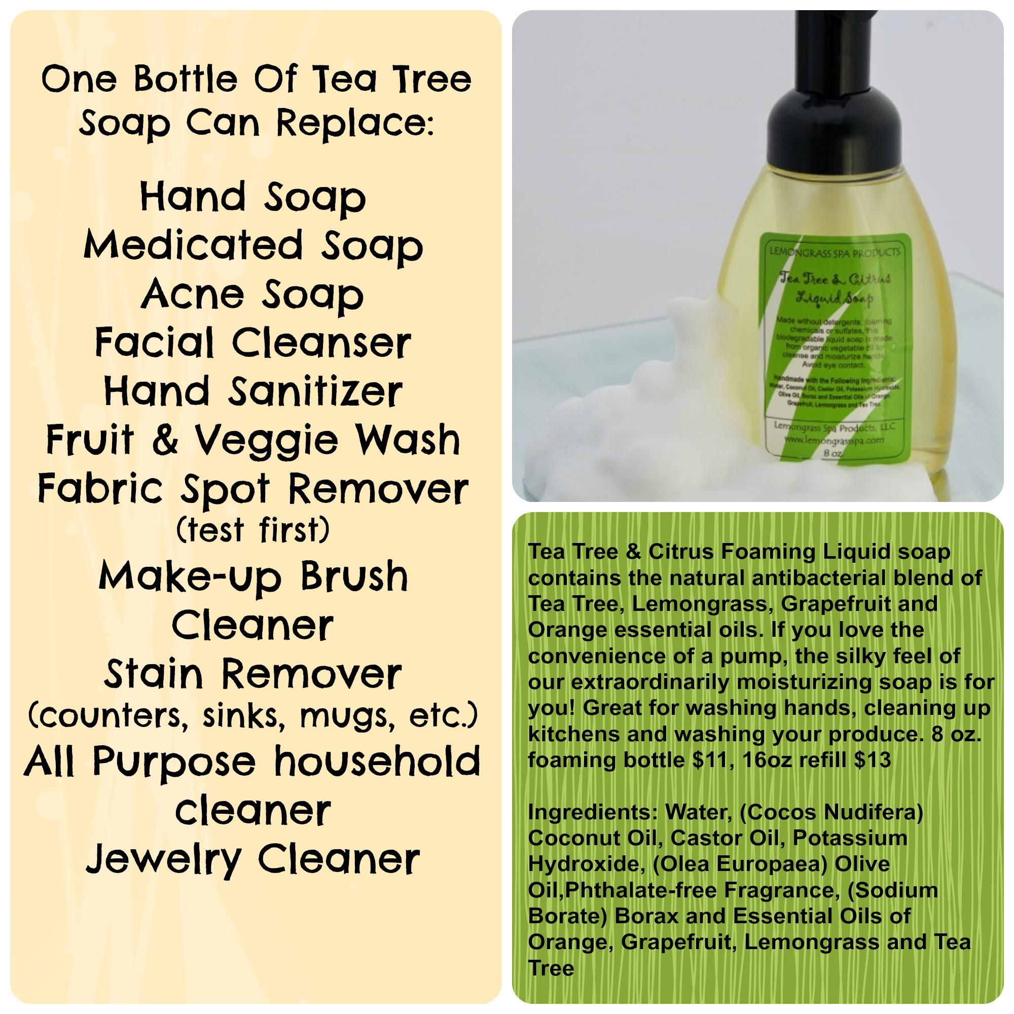 Tea Tree Liquid Soap Replaces Many Products In Your Home Does Not