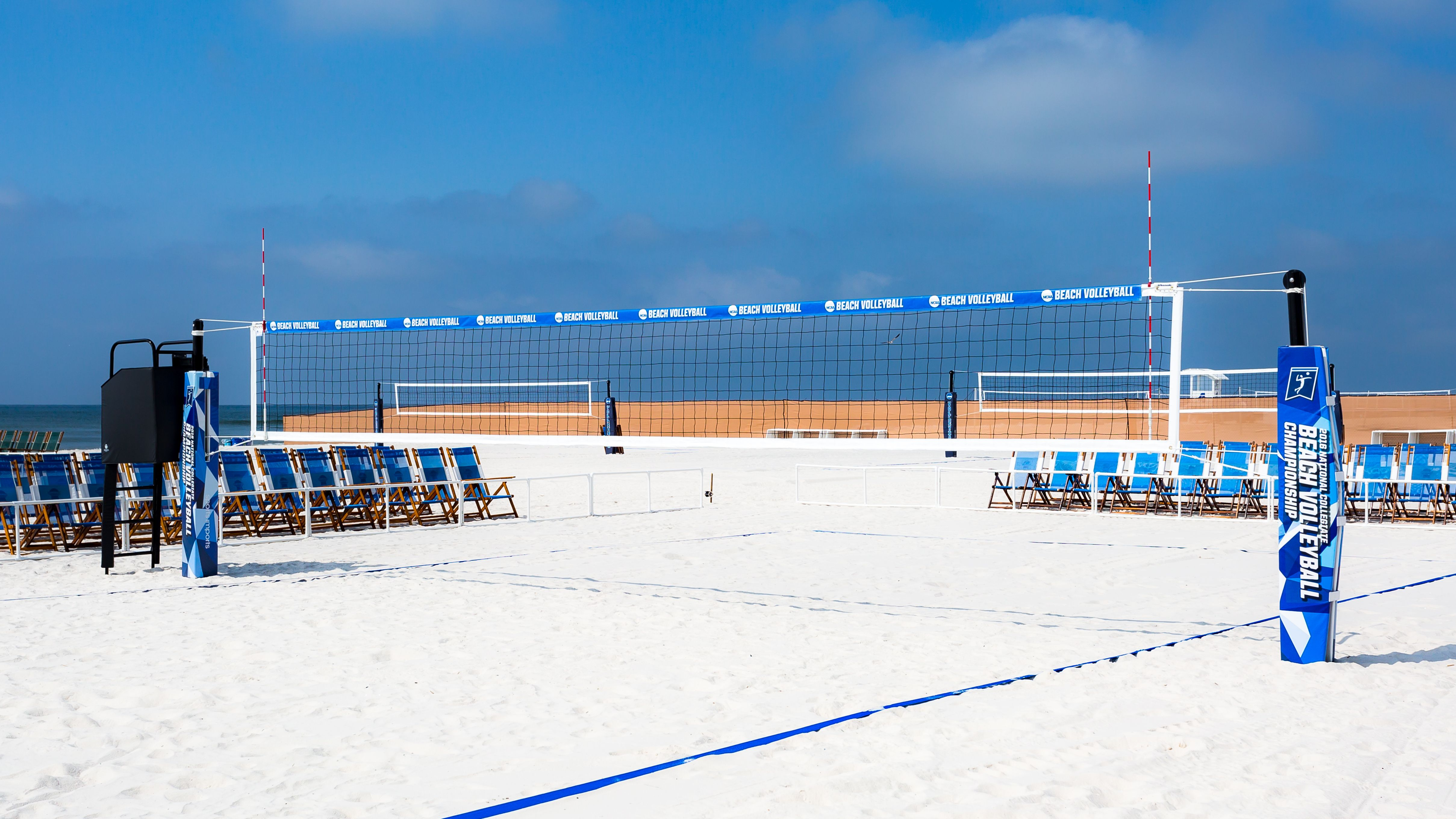 Inaugural Ncaa Beach Volleyball Championship In Gulf Shores Alabama Sports Imports Beach Volleyball Equipment Volleyball Net Volleyball Equipment Volleyball