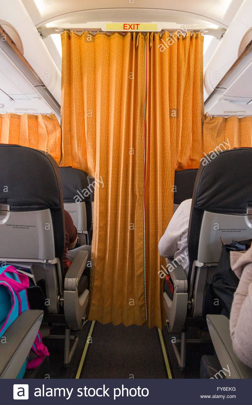 Curtains Curtain Between Economy Passengers From Business Class On Airbus  Passenger Aircraft Air Craft Plane Airplane Aeroplane Stock Photo