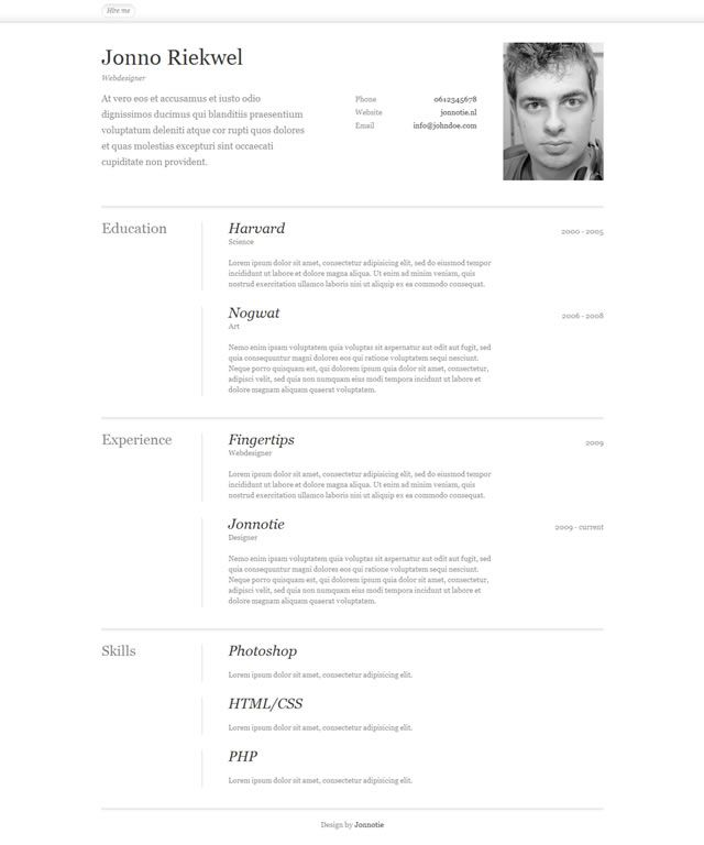 10 Free Professional HTML  CSS CV/Resume Templates learning