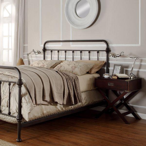 da93d73f33434f Tribecca Home Giselle Antique Dark Bronze Graceful Lines Victorian Iron  Metal Bed