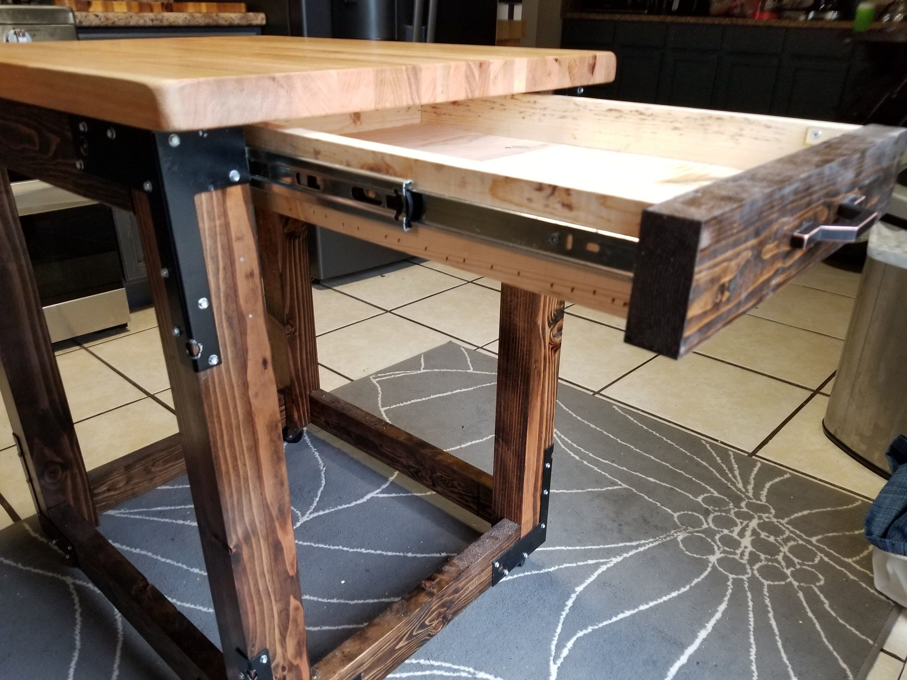 Beautiful Butcher Block Kitchen Island With Soft Close Drawer Etsy Butcher Block Island Kitchen Wood Kitchen Island Kitchen Island Table