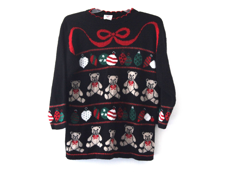 vintage 80s christmas sweater teddy bear pattern nutcracker by 216vintagemodern on etsy