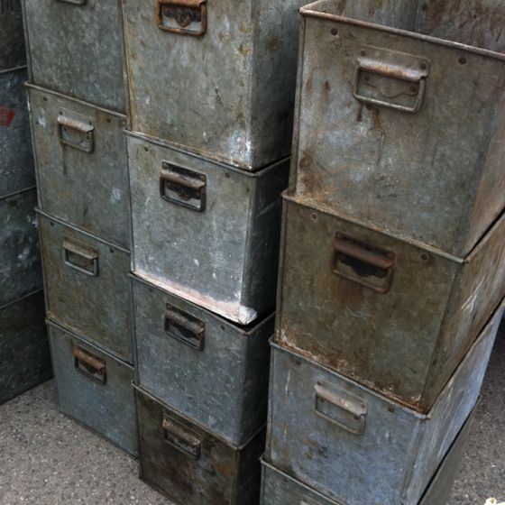 galvanized metal boxes/drawers