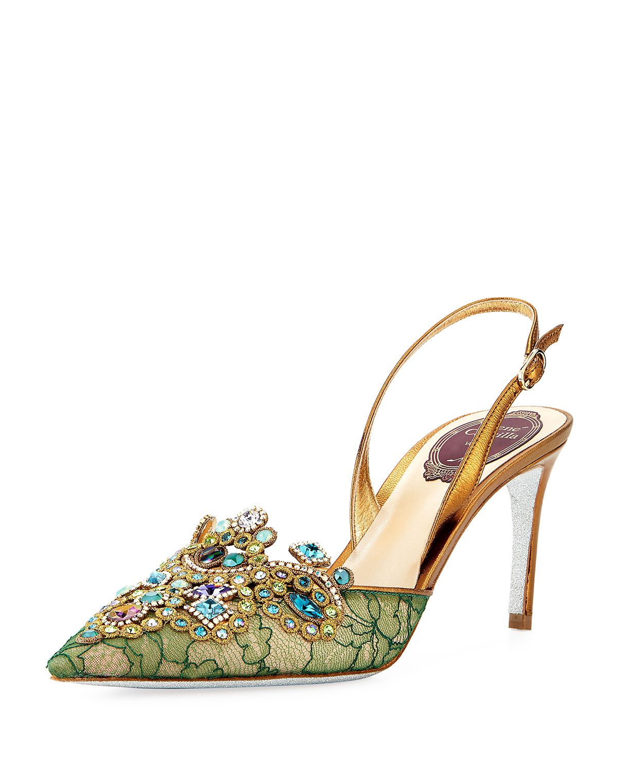 RENé CAOVILLA Designer Shoes, Suede and Crystals Pointy Mules