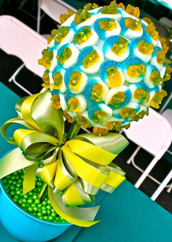 Yellow green blue gummy bear candy land centerpiece