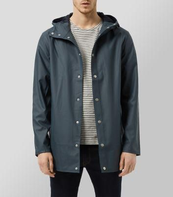Looks great for warmer weather New Look Blue Hooded Rain Coat #jacket #cloudy #covetme