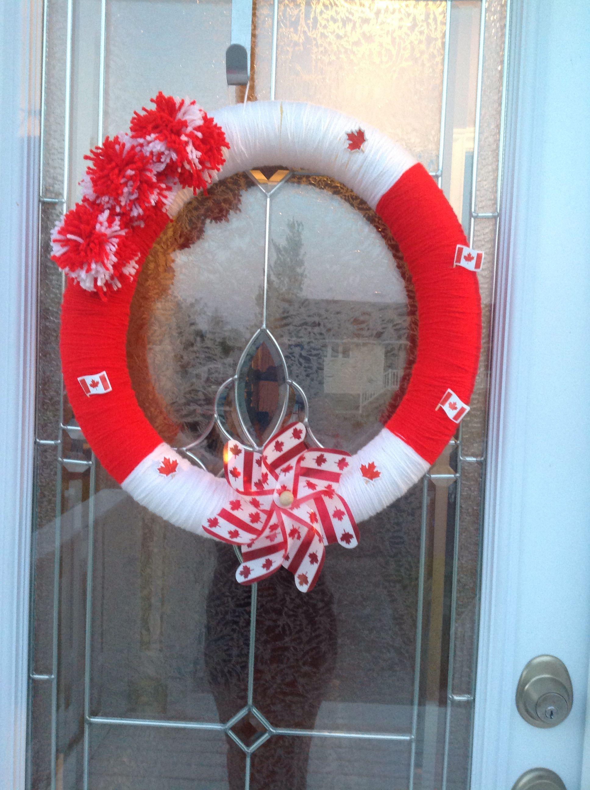 Canada Day yarn wreath by my friend! Canada day