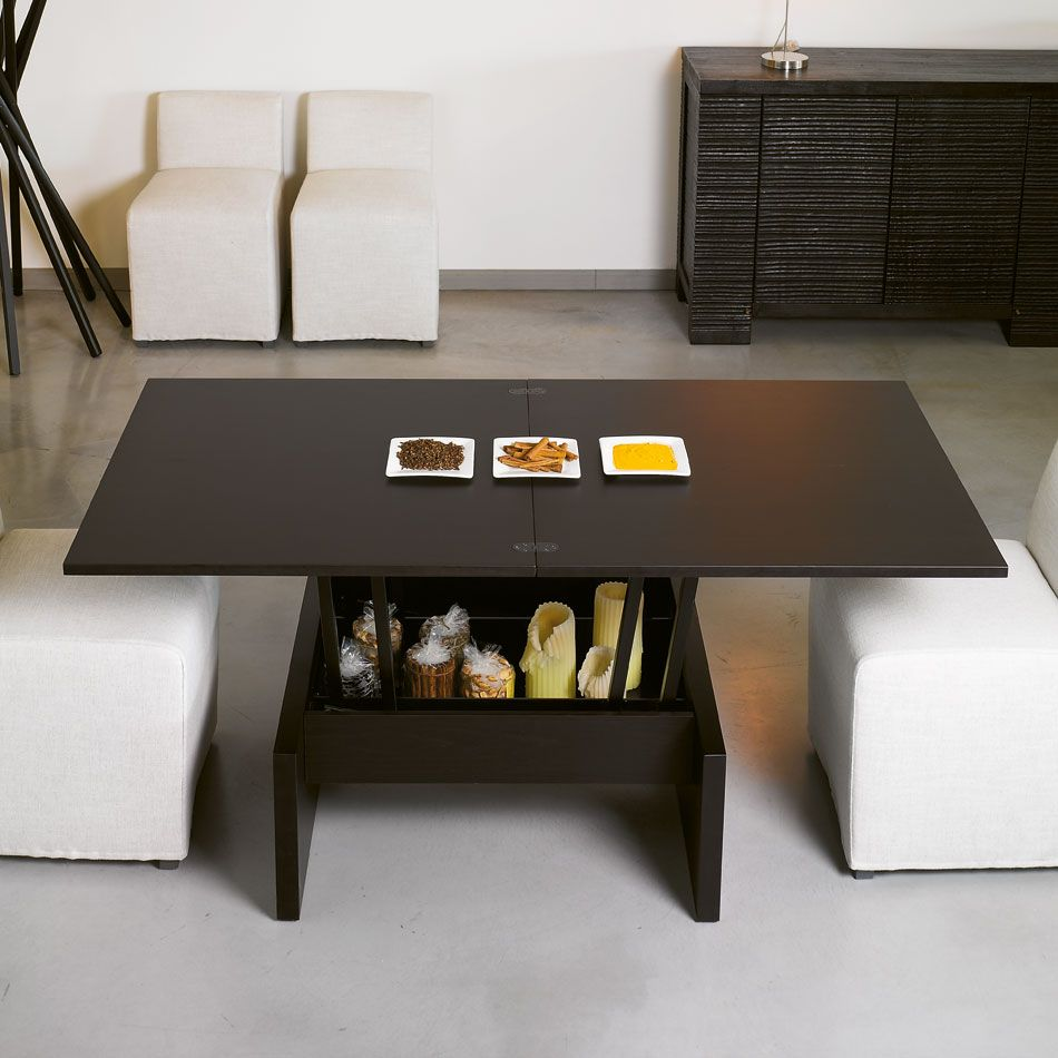 Kubo: This great all wood coffee tables converts into a dining table and  has a hidden storage area in its base structure. - $1900.00