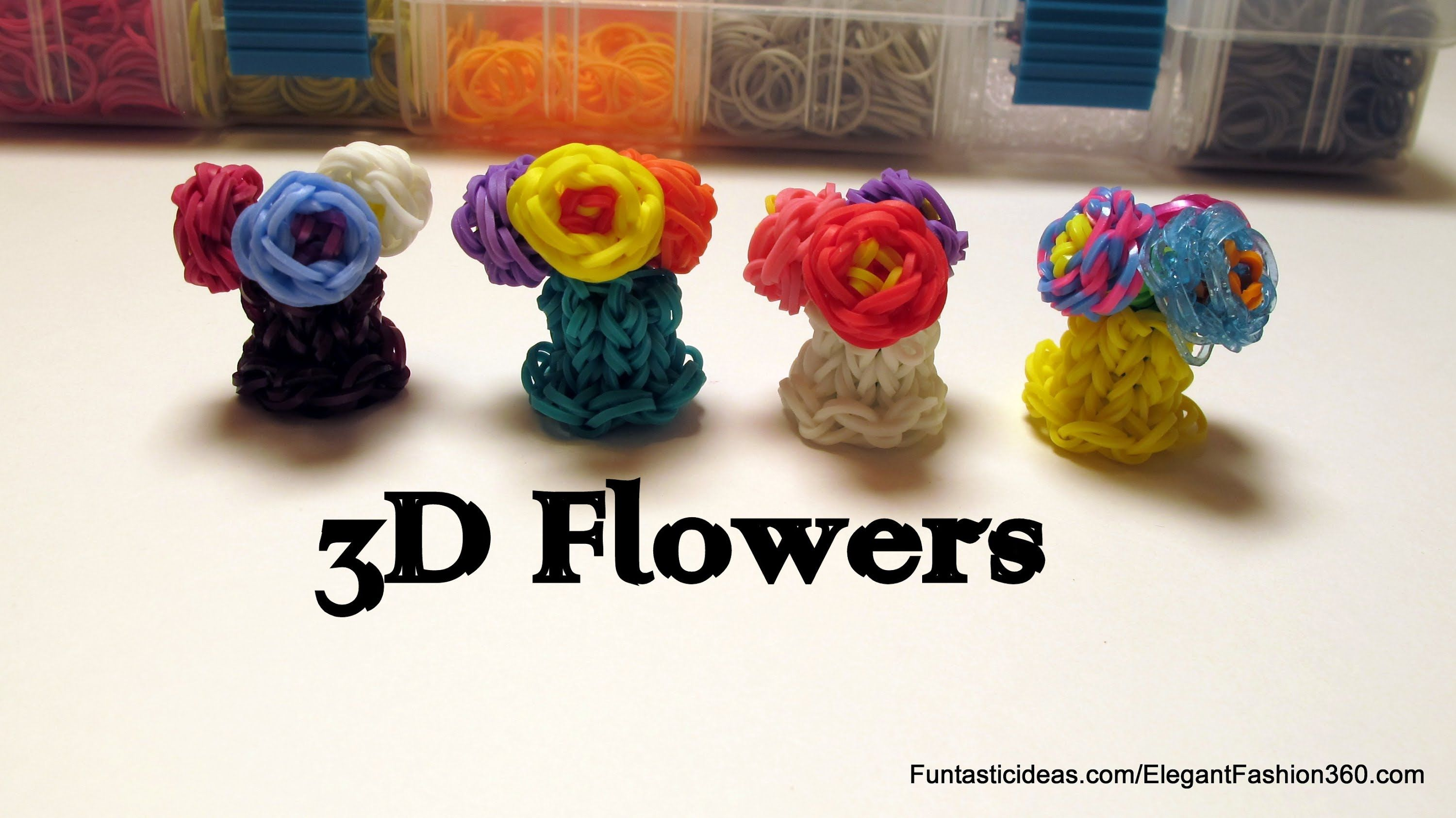 Rainbow Loom 3d Mini Flowers In Vase Charm  How To  Mother's Day Gift