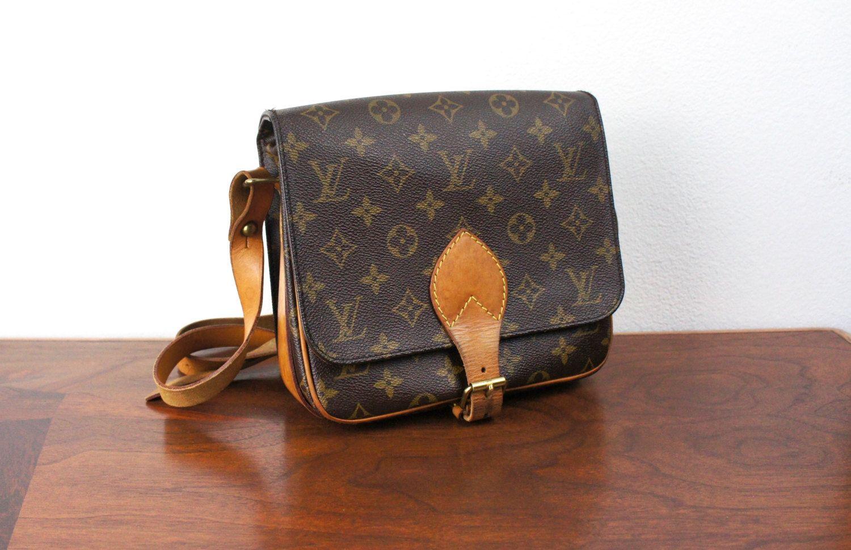 Vintage Louis Vuitton Small Cartouchiere Cross Body Messenger Bag Brown Monogrammed Lv Canvas Leather Should Louis Vuitton Vintage Louis Vuitton Lv Monogram