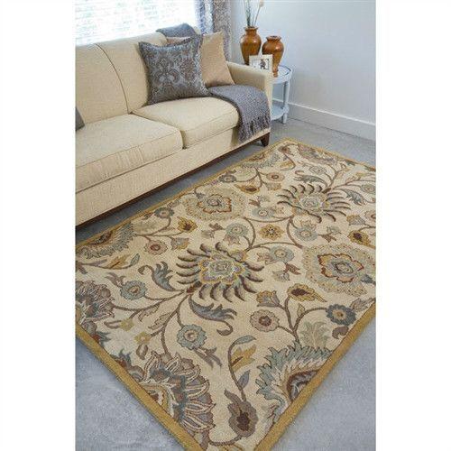 6 X 9 Ft Tufted Wool Area Rug Handmade Beige Blue Fl Jacobean Pattern Products Pinterest