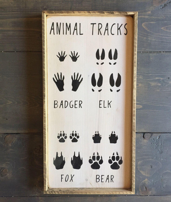 Animal Tracks Sign Hunting Sign Nursery Decor Home