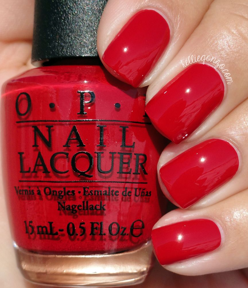 Red Nail Polish On Thumb: OPI Love Is In My Cards Is A Red Crème Nail Polish
