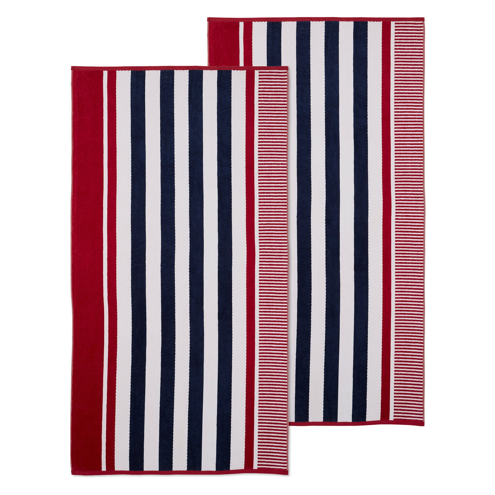 Superior Checkered Textured Oversized Beach Towel Set Of 2