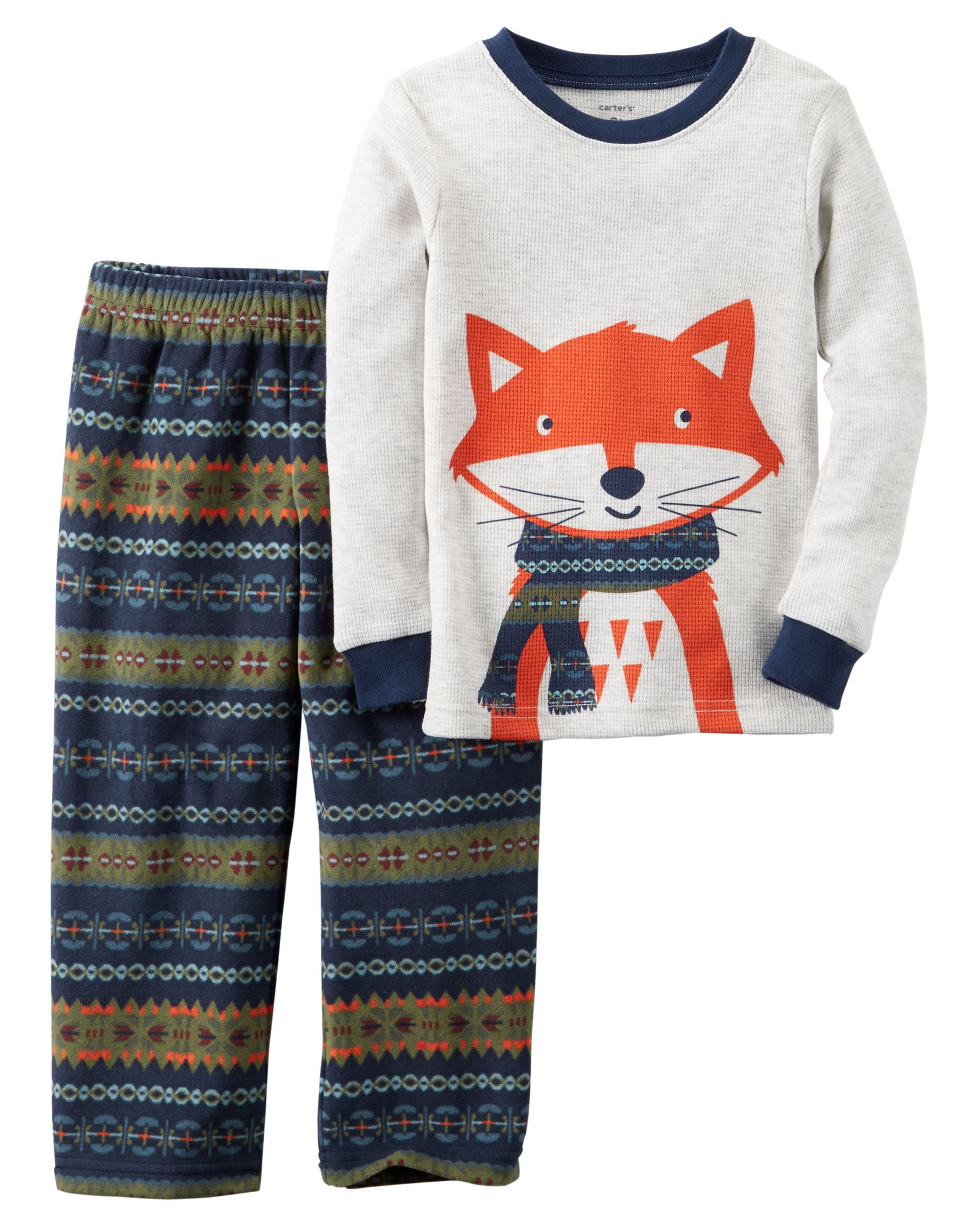 3139feb4f Baby Boy 2-Piece Cotton   Fleece PJs