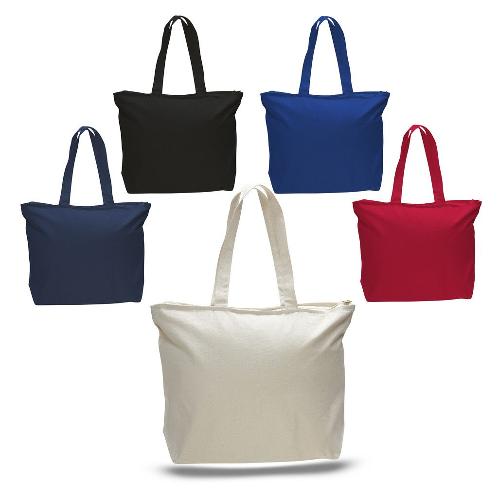 a85583480 Heavy Canvas Zipper Tote Bag with Long Handles - TG261 | Silhouette ...