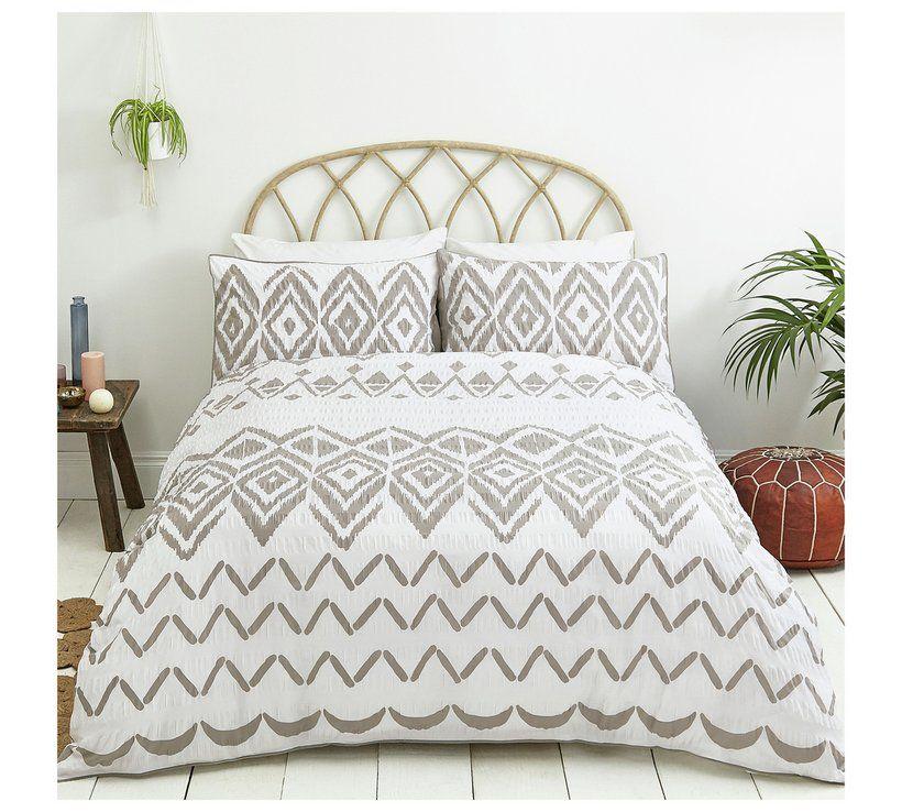 Boho Grey Seerer Bedding Set, Grey King Size Bedding Argos