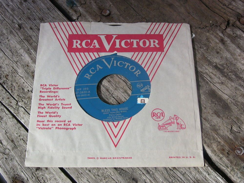 Vintage Vinyl 45 Record Perry Como Bless This House RCA