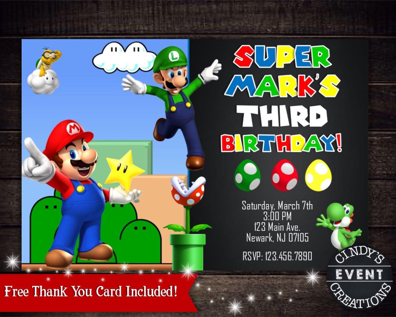 Super Mario Birthday Invitation by CindysEventCreations on Etsy ...