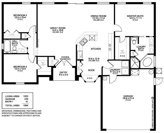 3 Bedrooms 2 Baths 2 Car Garage 1523 Sq Ft Living Area Open Great Room Floor Plan With Split Room Layout Highland Homes Floor Plans Garage Floor Plans