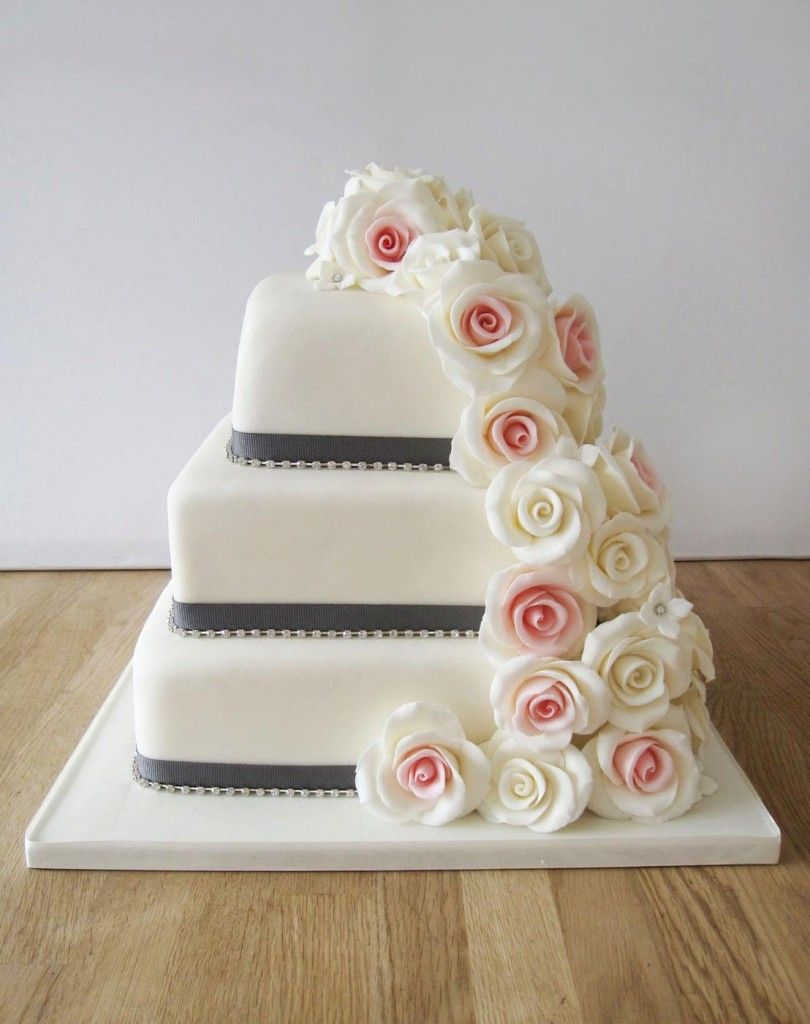 Square Wedding Cake with Cascading Roses | Weddingcakes and cakes ...