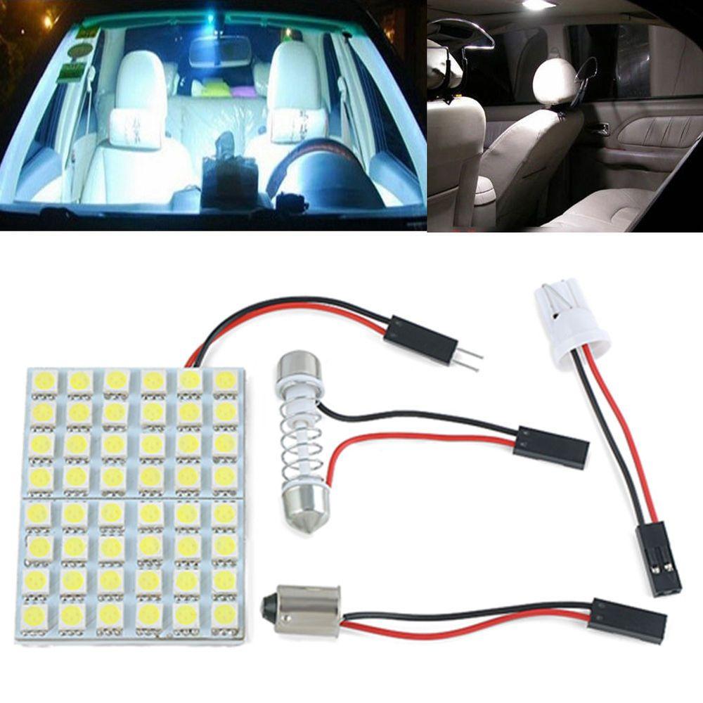 Car Interior White 48 SMD 5050 LED Light Lamp Panel T10 Festoon Dome BA9S 12V