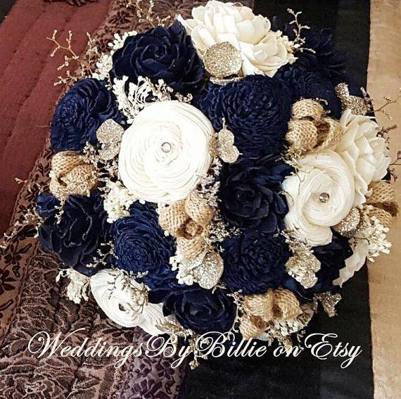 Navy Blue Sola Bouquet Champagne Ivory Por Weddingsbybillie