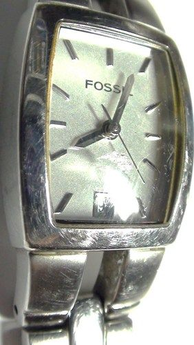 1990's Fossil Women's Watch Great Face with Stainless Steel Bracelet W | Vintageartjewelry - Jewelry on ArtFire