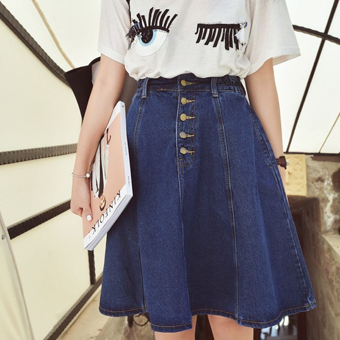 0ee1925f1263b 2018 New Denim Plus Size Woman Skirt A-line Jeans Front Button Knee ...