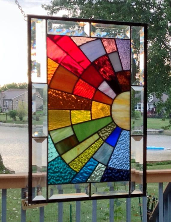 Beveled Stained Glass Window Panel Rainbow Arch Geometric Stained Glass Art Stained Glass Diy Faux Stained Glass