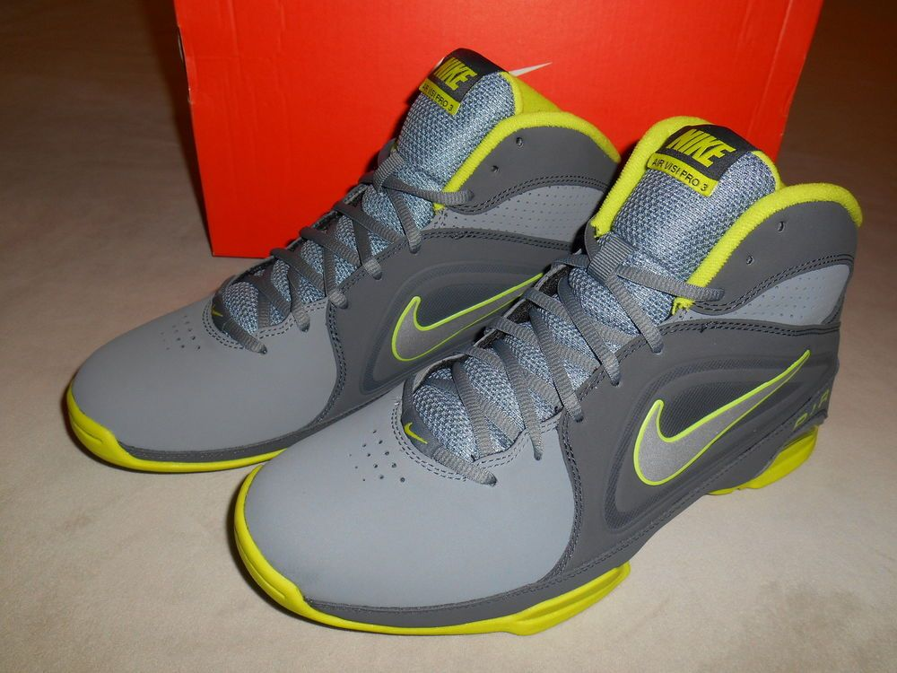NEW NIKE AIR Visi Pro 3 Nubuck Gray / Silver / Neon Men's Basketball Shoes