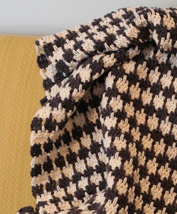 PATTERN Crochet Houndstooth Blanket | Afghan | Throw PATTERN - PDF ...
