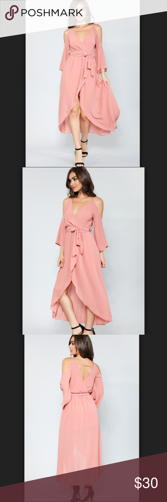 c90a40a517a Dusty Pink Open Shoulder Dress New Size S Model is wearing a small. All  Measurements