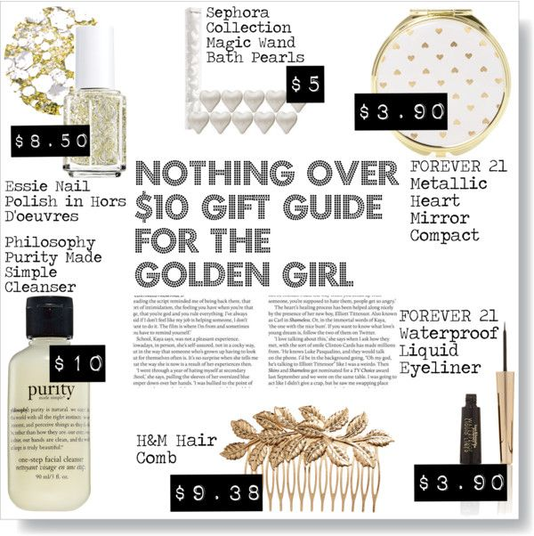 """""""Nothing Over $10 Gift Guide For The Golden Girl"""" by thosewhowonderarenotalwayslost on Polyvore"""