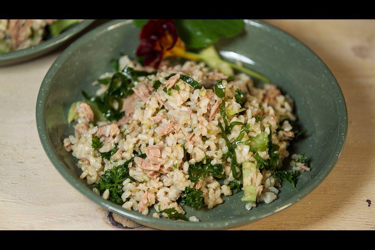 Six simple ingredients make up this tasty tuna salad ...