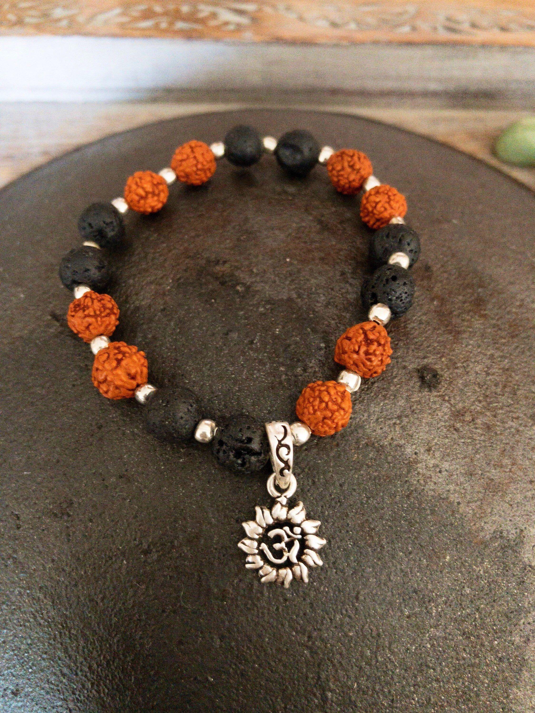 Handmade Rose Quartz Bracelet with 925 Sterling Om Ohm Yoga Charm