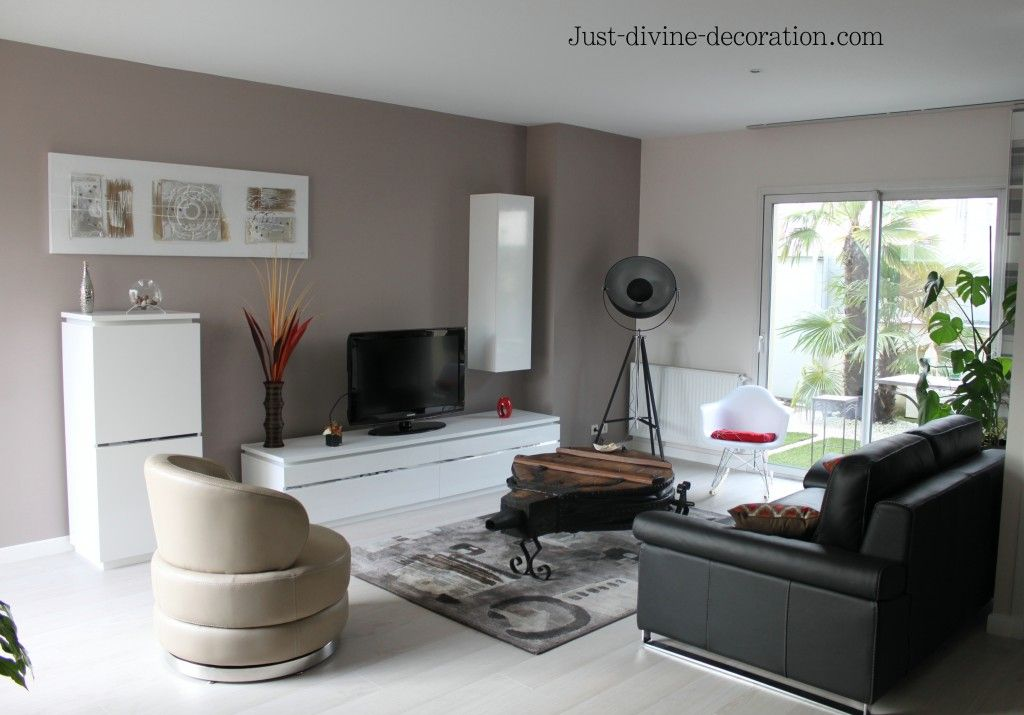 S jour contemporain taupe gris blanc noir for Idee deco interieur salon