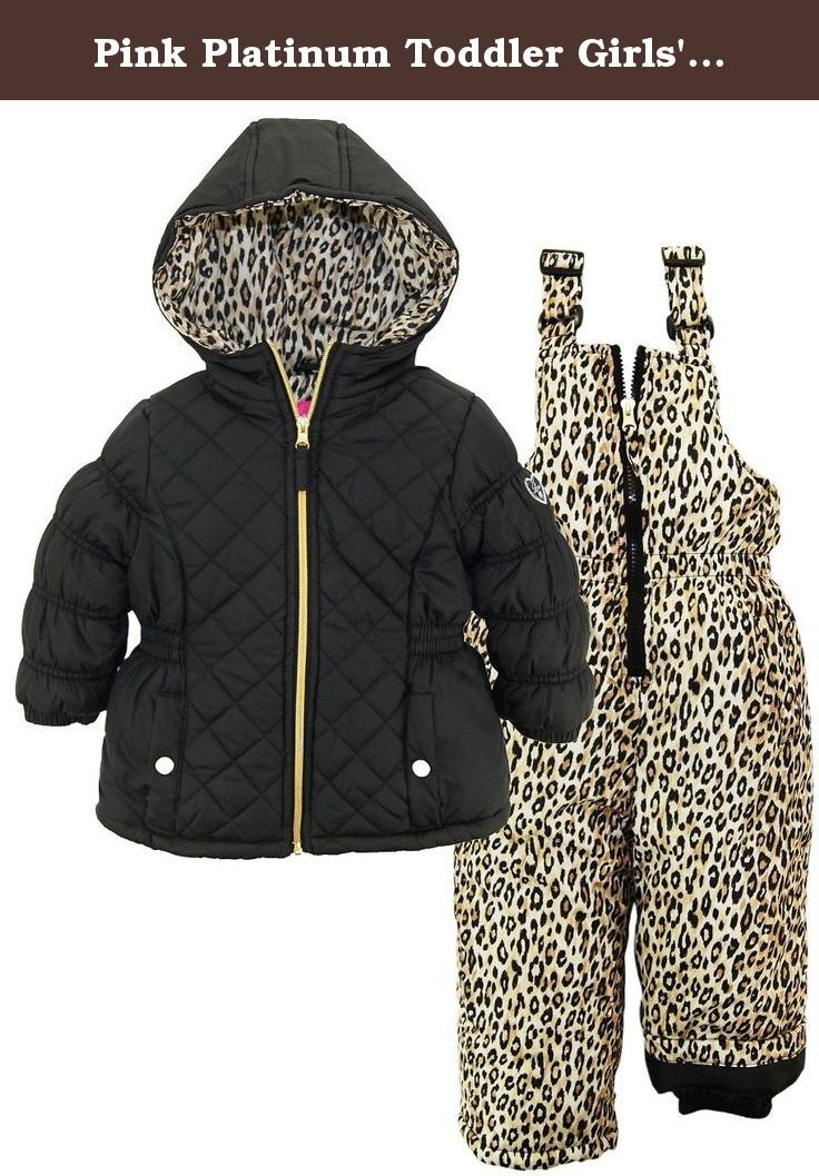 b8759cb4aa0e Pink Platinum Toddler Girls  Quilted Snowsuit with Cheetah Print ...