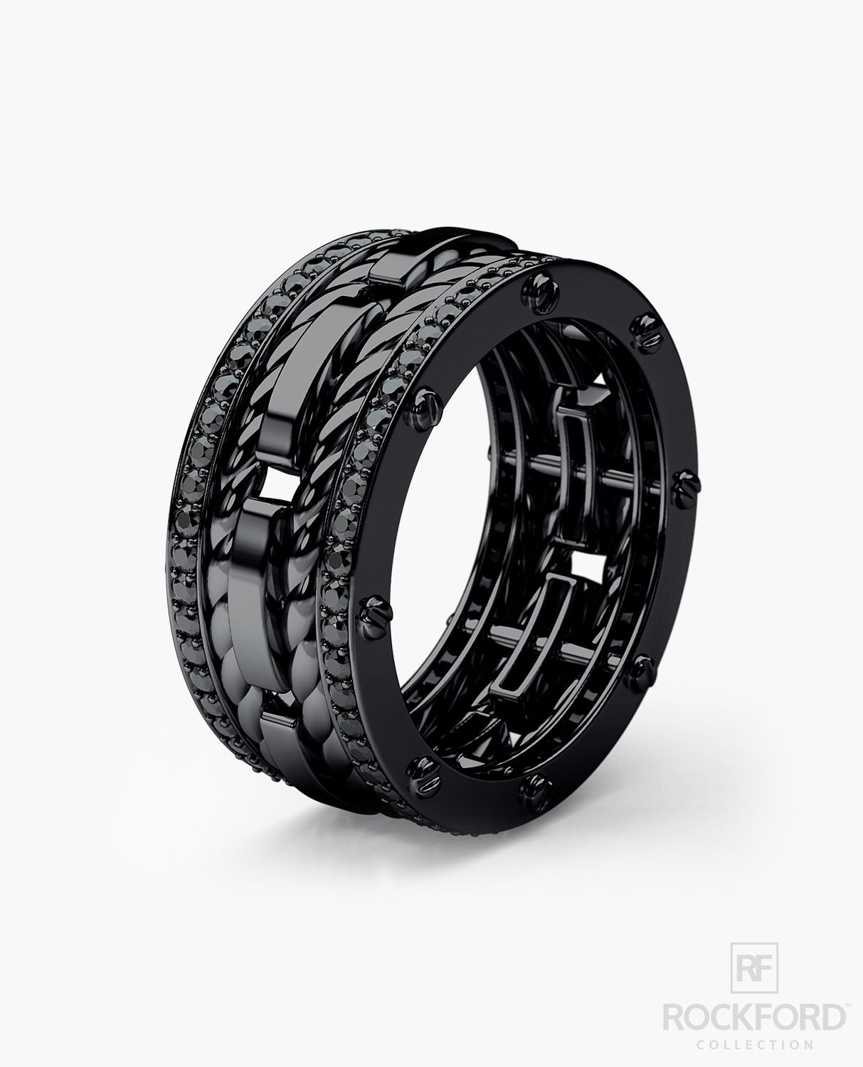 ROPES Black Rhodium Gold Mens Wedding Band with 105 ct Black