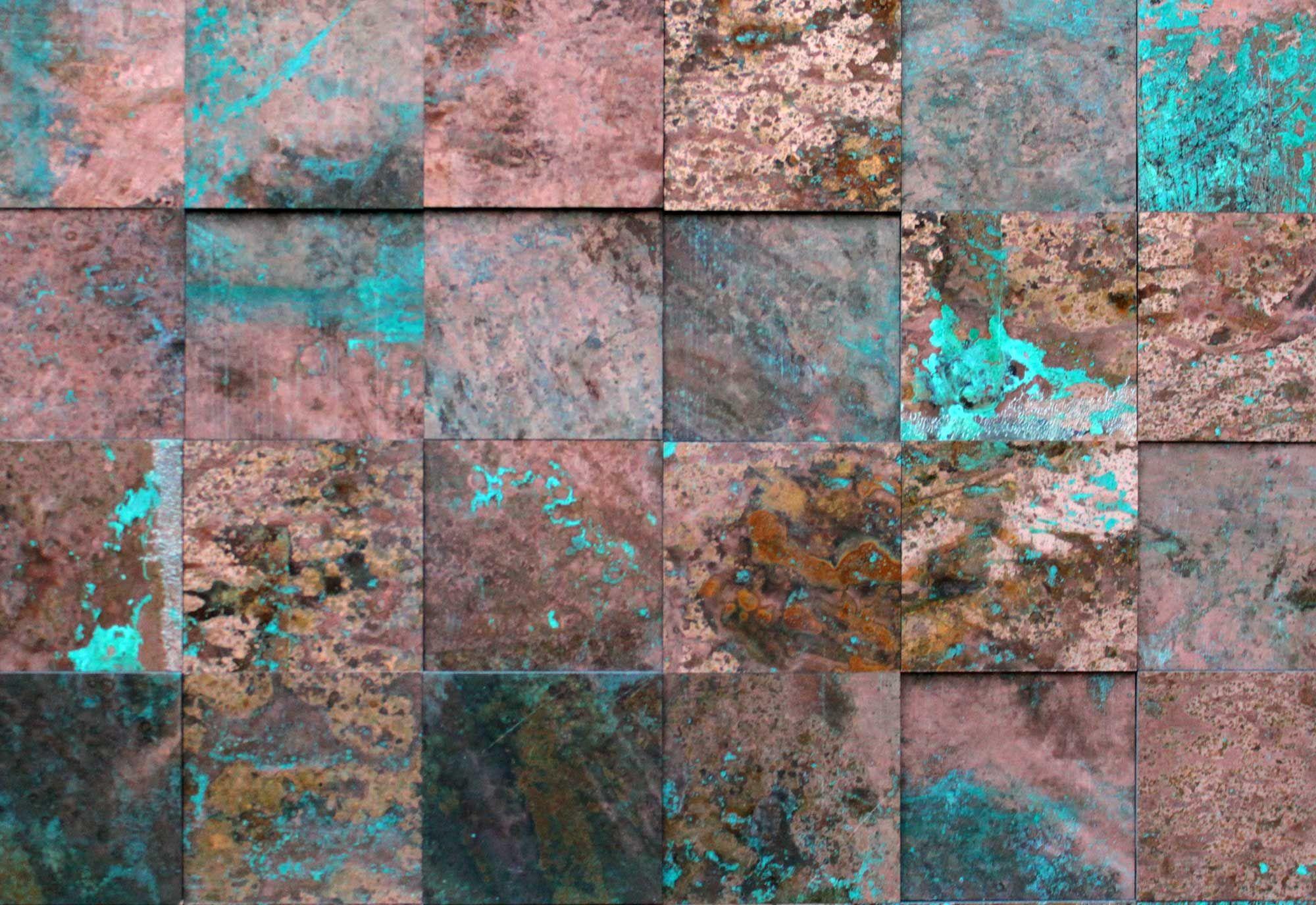 Wandpaneele metall kupfer oxidiert princkeln tuerkis - Wandfarbe kupfer metallic ...