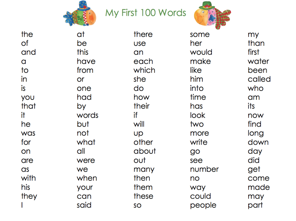 My First 100 Words -Set of 3 x 100 words list