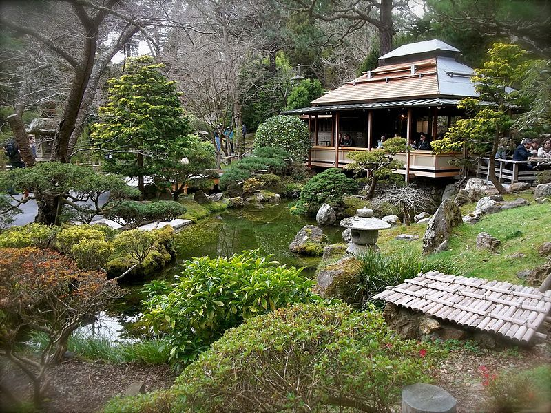 View of one of the ponds and the eatery in the Japanese Tea Garden, San Francisco