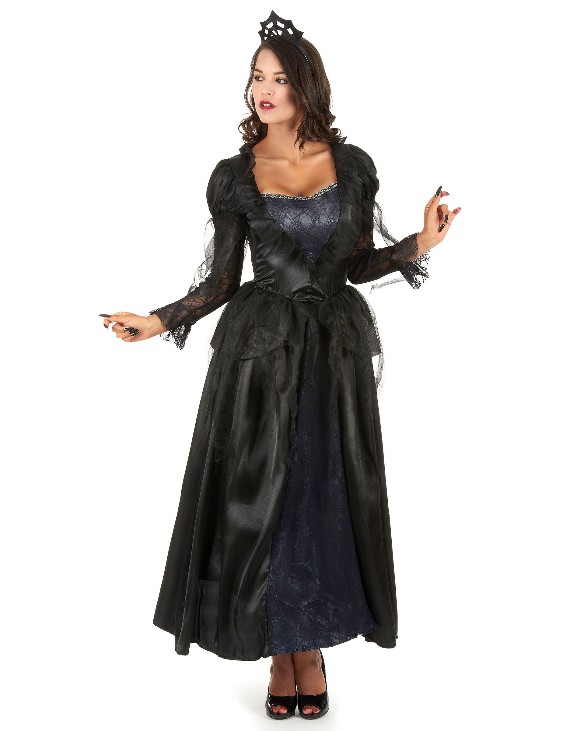 d guisement comtesse femme halloween robe longue noire d guisements et araign es. Black Bedroom Furniture Sets. Home Design Ideas