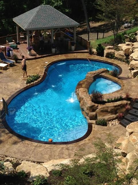 Fiberglass Pool With Hot Tub Google Search Pool